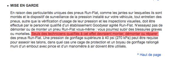 Réparation Goodyear/Dunlop Run on Flat